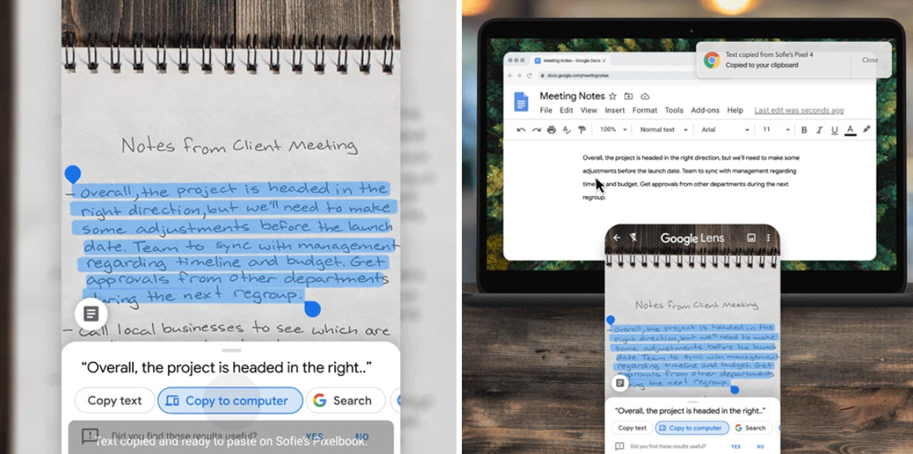 Now Google Lens recognizes handwritten notes, can copy them to a PC and reproduces the pronunciation of words