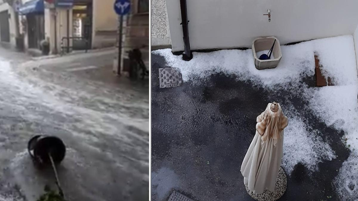 Bomba d'acqua a Schio nel Vicentino: grandine e vie del centro trasformati in fiumi [Video]