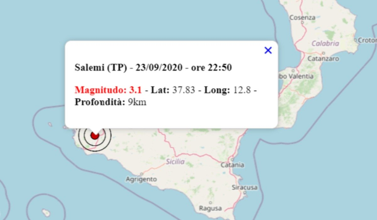 Terremoto Magnitudo 3,1 a Salemi in Provincia di Trapani